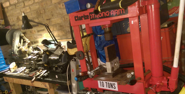 My workshop including Myford ML7 lathe & Clark 10ton press